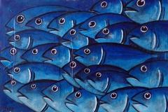 """""""Blue Band"""" - Huile sur toile (format 38/55)"""