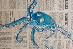 """""""Poulpe bleu"""" - Huile sur papier (format 24/30)"""