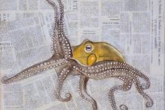 """""""Poulpe jaune"""" - Huile sur papier (format 30/40)"""