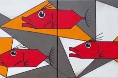 """Diptyque """"Saint Pierre cubiques rouges"""" - Huile sur toile 2 toiles (format 20/20)"""